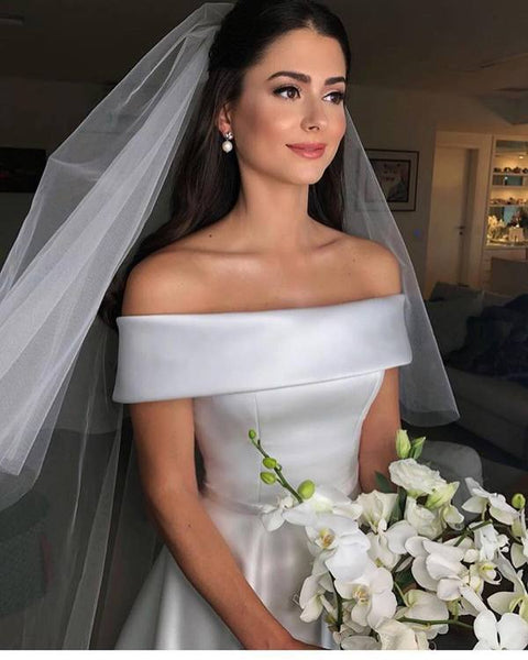 Satin Off The Shoulder Wedding Dresses, Sexy Wedding Dresses 2019