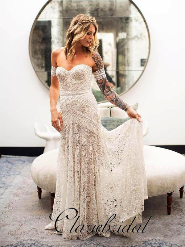 Ivory Lace Mermaid Country Wedding Dresses, Long Wedding Dresses, Bridal Gown