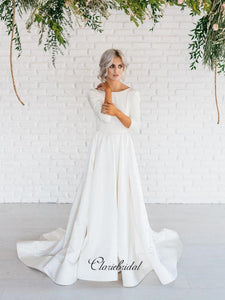 Long Sleeves Satin Wedding Dresses, A-line Wedding Dresses, Simple Bridal Gowns