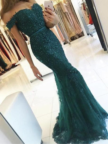 Off Shoulder Mermaid Appliques Beaded Prom Dresses, Long Prom Dresses, Prom Dresses