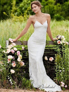 Spaghetti Straps Backless Sexy Wedding Dresses, Lace Mermaid Country Wedding Dresses