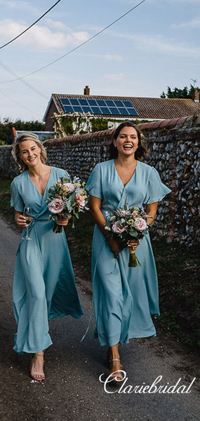 Half Sleeves Blue Chiffon French Style Long Bridesmaid Dresses