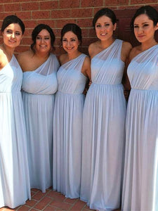 One Shoulder Long A-line Chiffon Bridesmaid Dresses, Long Bridesmaid Dresses, Light Blue Bridesmaid Dresses