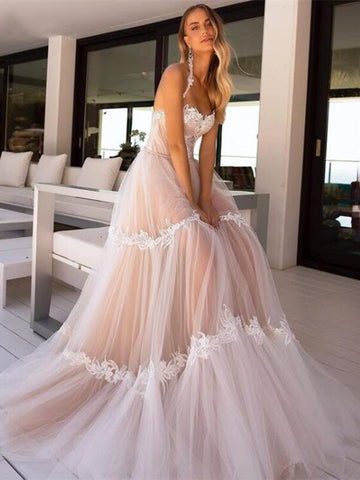 Halter Lace Appliques Wedding Dresses, A-line Wedding Dresses, Bridal Gown, 2021 Wedding Dresses