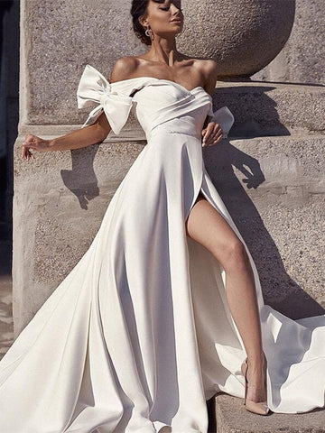 Off Shoulder Ivory Satin Wedding Dresses With Bow Knots Sleeves, Newest 2021 Wedding Dresses, A-line Wedding Dresses