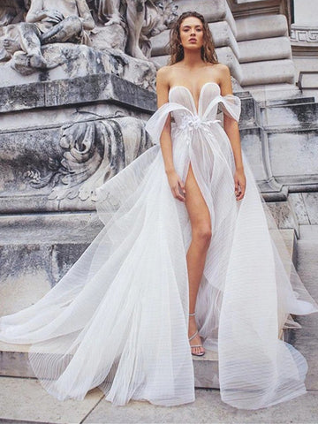 Sweetheart Modern Chic Wedding Dresses, Bridal Gown, High Slit Wedding Dresses, Long Wedding Dresses