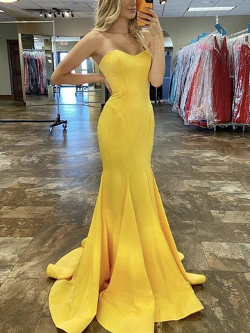 Mermaid Strapless Long Prom Dresses, Satin 2021 Newest Prom Dresses, Graduation Dresses