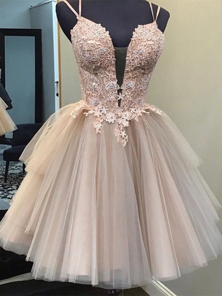 Lace Tulle Homecoming Dresses, Short Prom Dresses, Popular Homecoming Dresses