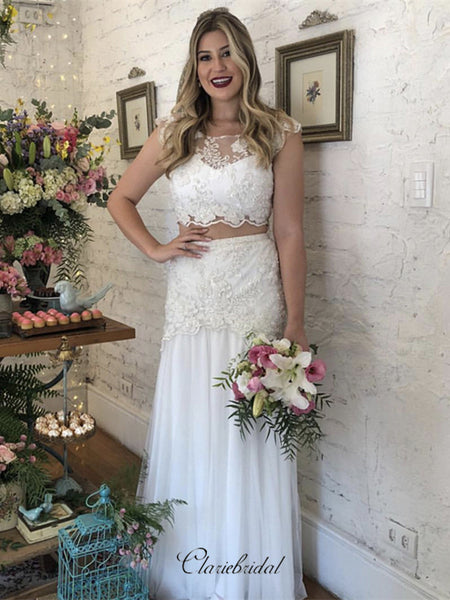 Newest Two Pieces Lace Wedding Dresses, Wonderful Wedding Dresses
