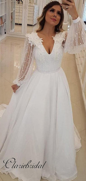 Long Sleeves Beaded Wedding Dresses, V-neck Wedding Dresses, A-line Wedding Dresses Long