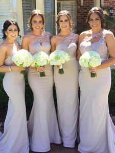 Lilac One Shoulder Long Mermaid Lace Jersey Bridesmaid Dresses
