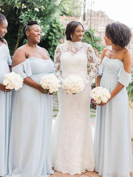 Off the Shoulder Pale Blue Chiffon Bridesmaid Dresses, Long Bridesmaid Dresses, Popular Bridesmaid Dresses
