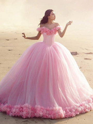 Off Shoulder Pink Tulle Flowers Wedding Dresses, Luxury Wedding Dresses, 2021 Wedding Dresses, Bridal Gown