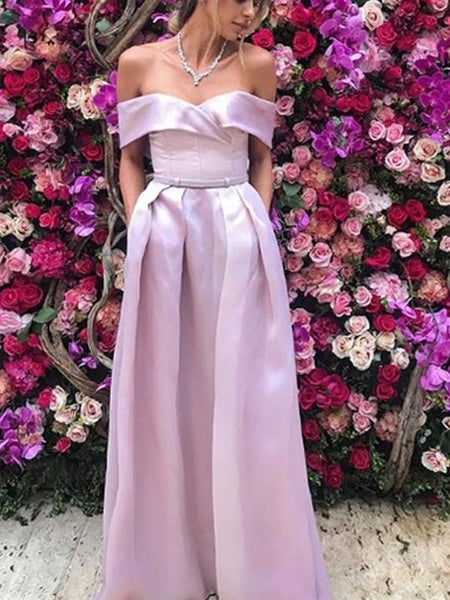 Off Shoulder Pink Satin Prom Dresses, Long Prom Dresses, Cheap Prom Dresses