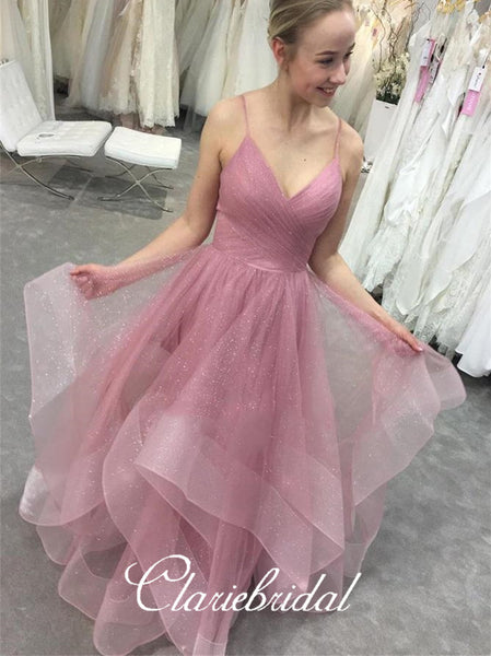 Spaghetti Long A-line Layers Sequin Tulle Prom Dresses, Sparkle Long Prom Dresses, 2020 Prom Dresses