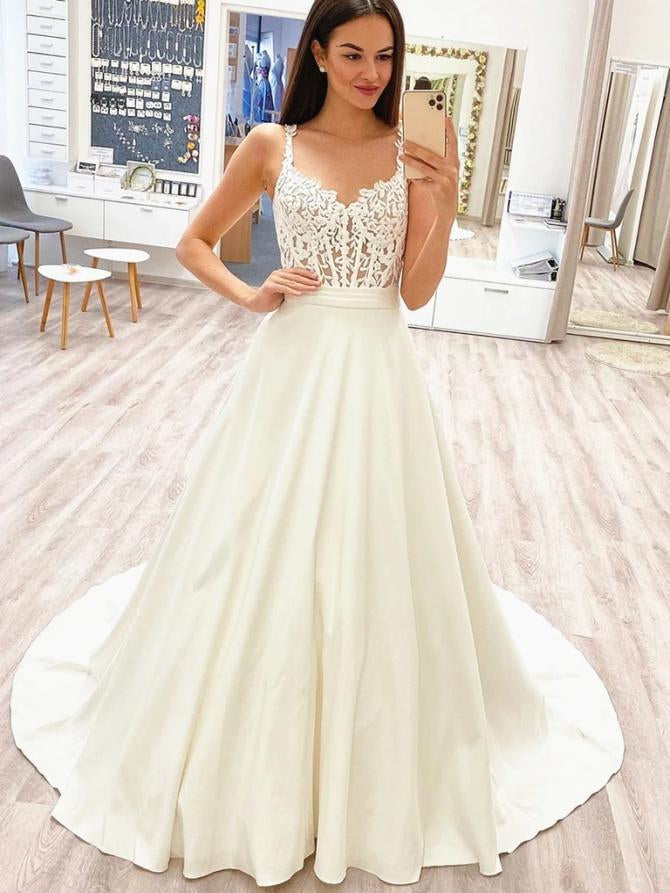 Straps Long A-line Ivory Satin Lace Wedding Dresses, Elegant Long Wedding Dresses, Long Wedding Dresses