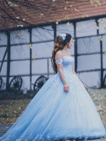 Off Shoulder Sky Blue Lace Prom Dresses, Quinceanera Dresses, 2021 Prom Dresses, Cheap Prom Dresses