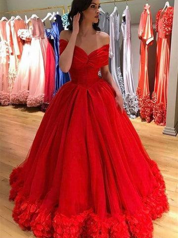 Off Shoulder Red Prom Dresses, Quinceanera Dresses, 2021 Prom Dresses, Newest Prom Dresses