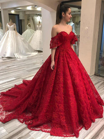 Off Shoulder Long A-line Red Lace Prom Dresses, Formal Dresses, Long Prom Dresses, 2020 Prom Dresses