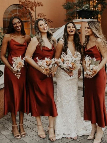 Spaghetti Long Sheath Bridesmaid Dresses, Burgundy Bridesmaid Dresses, Popular Bridesmaid Dresses