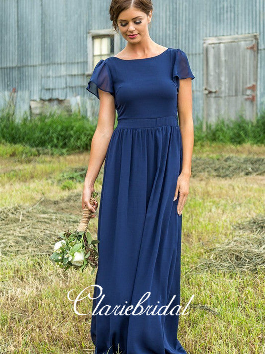 Short Sleeves Fluffy Chiffon A-line Bridesmaid Dresses