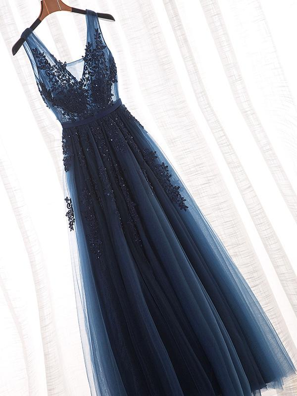Navy Lace Beaded Prom Dresses, A-line Appliques Prom Dresses, Popular Prom Dresses
