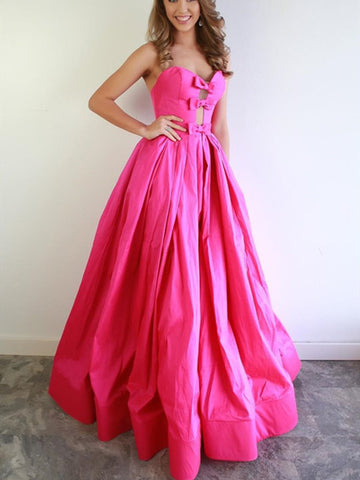 Strapless Hot Pink Long Prom Dresses 2021, Popular A Line Prom Dresses, Satin Evening Party Dresses