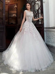 Sleeveless Long A-line Lace Tulle Wedding Dresses, Bridal Gown, 2020 Wedding Dresses