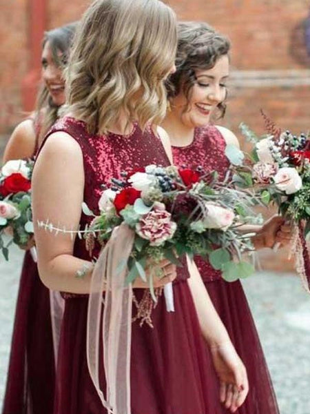 2 Pieces Sequin Top Tulle Bridesmaid Dresses, Lovely Bridesmaid Dresses, Popular Bridesmaid Dresses