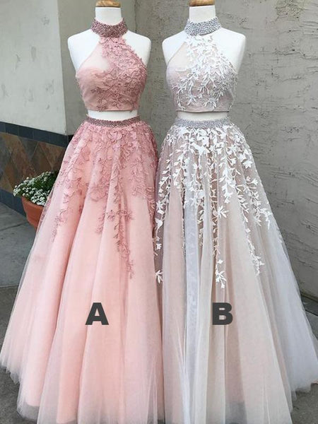 High Neck Beaded Prom Dresses, Two Pieces Lace Tulle Prom Dresses