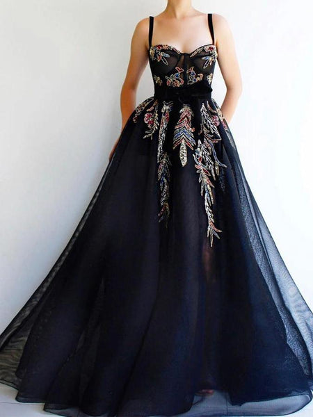 Straps Long A-line Black Tulle Appliques Prom Dresses, Newest Prom Dresses, 2021 Prom Dresses