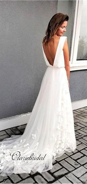 Slit Design Appliques Wedding Dresses, Sexy V-neck Newest Wedding Dresses