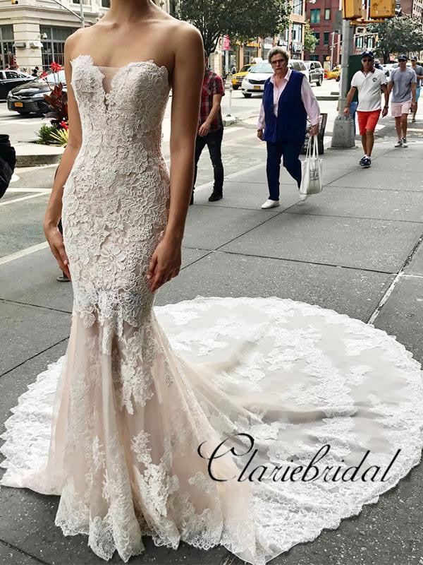 Strapless Long Mermaid Lace Wedding Dresses