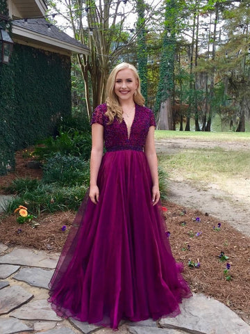 Short Sleeves Prom Dresses, Beaded Prom Dresses, A-line Prom Dresses, Purple Prom Dresses, 2021 Prom Dresses