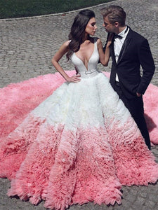 Deep V-neck Long A-line Layers Tulle Wedding Gown, Luxury Bridal Gown, Special Wedding Gown