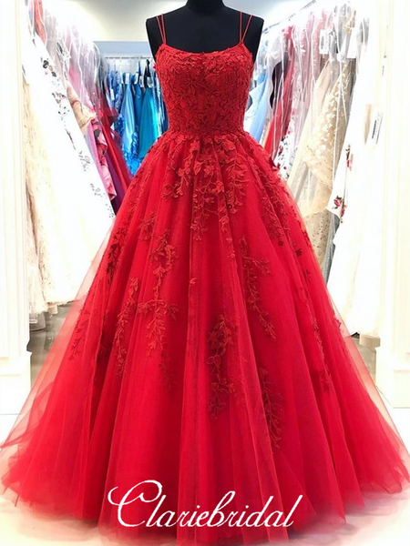 Round Neck Red Lace Tulle Prom Dresses, Lace Up Prom Dresses, Popular 2020 Prom Dresses