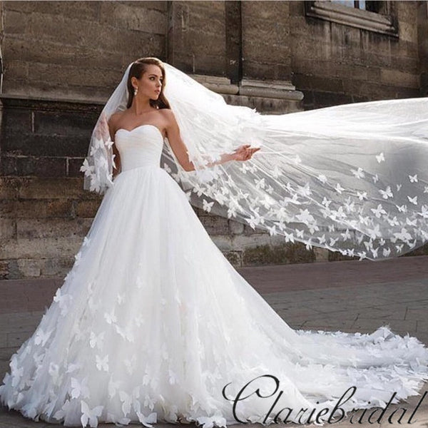 Sweetheart Long A-line Tulle Lace Wedding Dresses, Gorgeous Bridal Gown