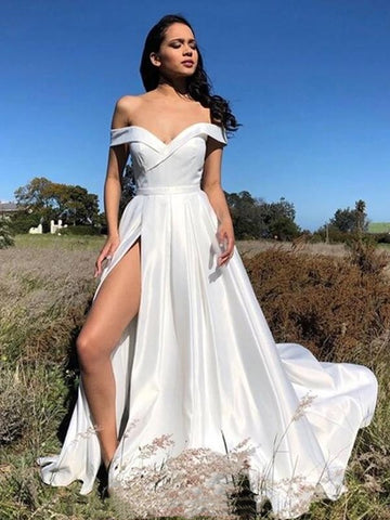 Off Shoulder Ivory Satin Prom Dresses, Long Simple Prom Dresses, 2020 Prom Dresses