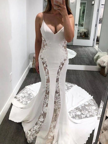 See Through Sexy Newest Wedding Dresses, Mermaid Popular Lace Wedding Dresses