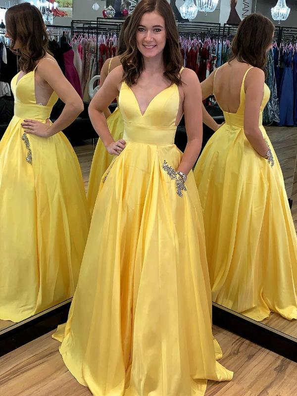 Strapes V-neck Yellow Satin Beaded Long Prom Dresses