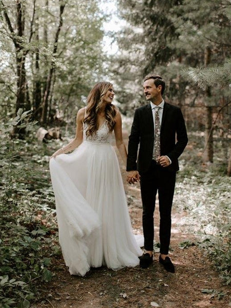 Simple V-neck Long A-line Lace Tulle Wedding Dresses, Country Wedding Dresses, Long Wedding Dresses