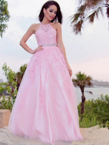 Halter Long A-line Pink Lace Beaded Waist Prom Dresses, Popular 2021 Prom Dresses