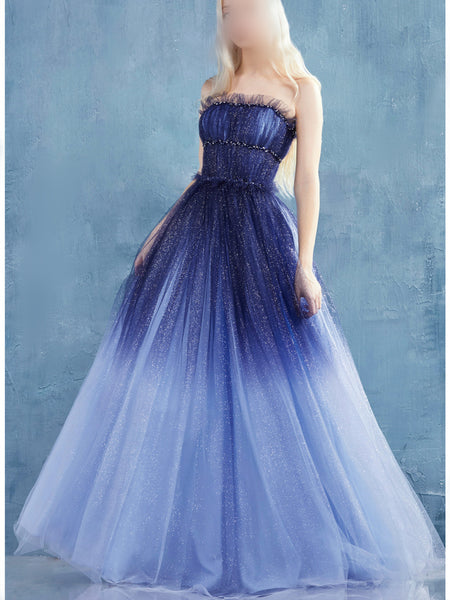 Strapless Long A-line Gradient Sequin Tulle Prom Dresses, Sparkle Prom Dresses, Long Prom Dresses