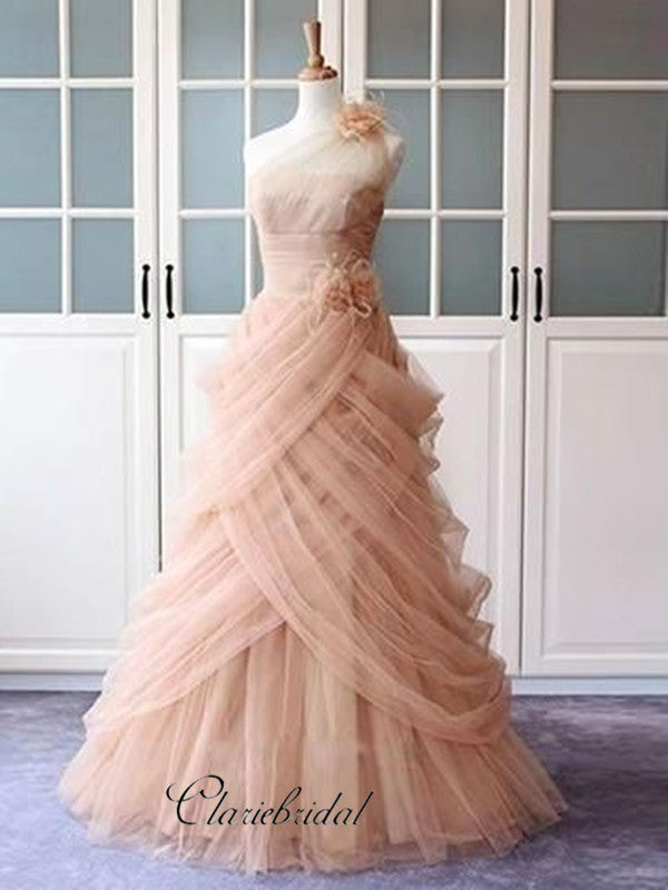 Tulle Elegant Party Prom Dresses, Appliques Prom Dresses, A-line Prom Dresses