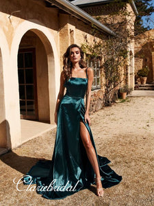 Simple A-line Slit Prom Dresses, Strap Cheap Prom Dresses, Popular Prom Dresses