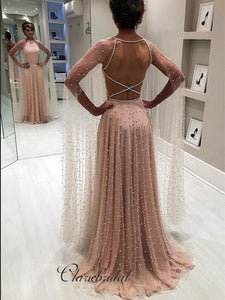 Open Back Tulle Beaded Long Prom Dresses, Unique Modest Prom Dresses