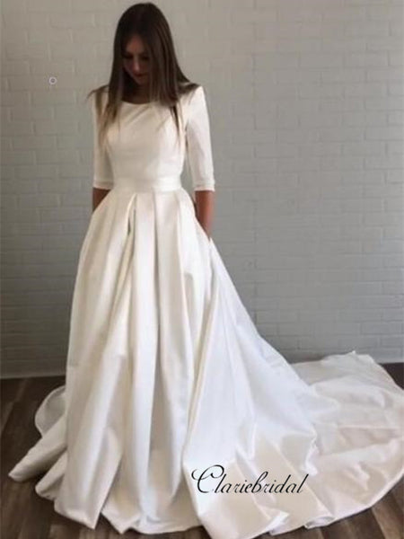 Half Sleeves Wedding Dresses with Pockets, Simple Design Satin Wedding Dresses