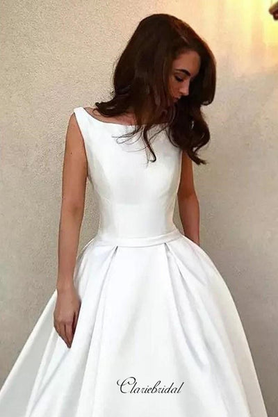 White Satin Bridal Gowns, Simple A-line Wedding Dresses, Sleeveless Wedding Dresses