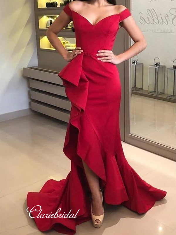 Sexy Red Slit Evening Party Dresses, Newest Modest Prom Dresses 2019