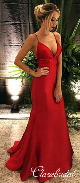 Spaghetti Strap Satin Prom Dresses Long, Cheap Prom Dresses 2019